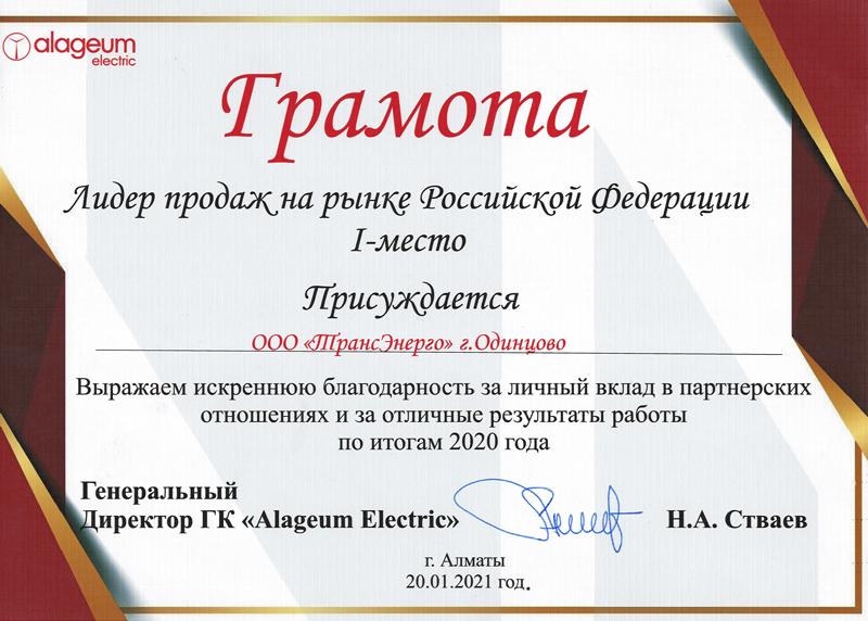 Изображение грамоты лидера продаж на рынке Российской Федерации за 1 место 2020 году